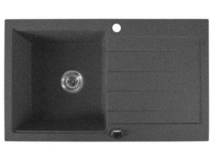 SAPHO - Dřez granitový vestavný s odkapávací plochou, 86x50 cm, černá GR7104