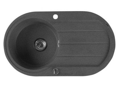 SAPHO - Dřez granitový vestavný s odkapávací plochou, 86x50 cm, černá GR1204