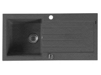 SAPHO - Dřez granitový vestavný s odkapávací plochou 86x43,5 cm, černá (GR1604)