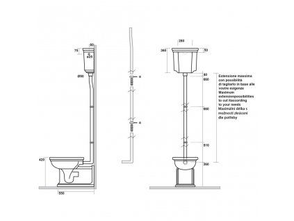 KERASAN - WALDORF-RETRO trubka k nádržce, chrom (757390)