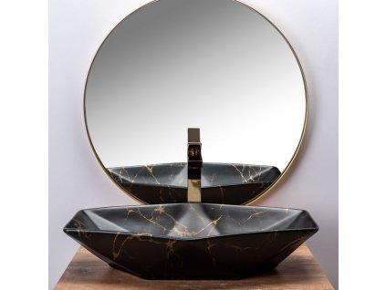 REA - Umyvadlo na desku Vegas Marble 37x66,5 černá matná (REA-U0994)