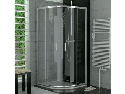 SanSwiss Ronal TOP-LINE sprchový kout čtvrtkruhový s posuvnými dveřmi 90cm, R55, matný elox, čiré sklo