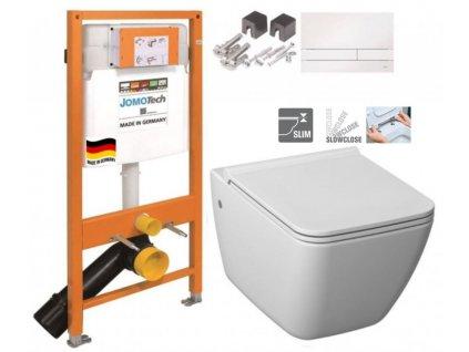 JOMOTech modul pro závěsné WC s bílou deskou + WC JIKA PURE + SEDÁTKO SLOWCLOSE 174-91100900-00 PU2