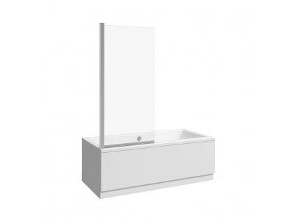 JIKA Nion - vanová zástěna 750 mm levá/pravá, jednodílná, stříbrný lesklý profil, 6mm transparentní sklo s úpravou JIKA perla GLASS., Transparentní sklo (2572N5)