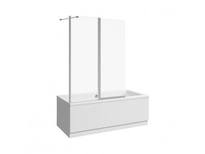 JIKA Nion - vanová zástěna 1150 mm levá/pravá, dvojdílná, stříbrný lesklý profil, 6mm transparentní sklo s úpravou JIKA perla GLASS., Transparentní sklo (2572N6)