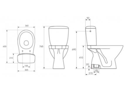 CERSANIT - WC kombi KASKADA 207 020 3/6, sedátko polypropylenové K100-207