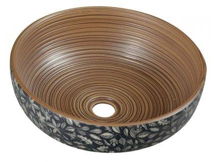 SAPHO - PRIORI keramické umyvadlo, průměr 41 cm, 15 cm, hnědá s modrým vzorem PI023