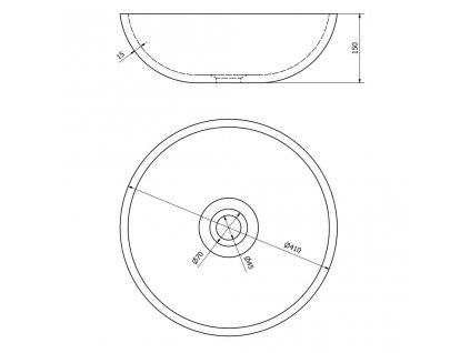 SAPHO - PRIORI keramické umyvadlo, průměr 41 cm, 15 cm, šedá se vzorem PI024