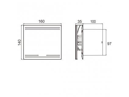 SAPHO - GLASS koupelnový ventilátor axiální, 8W, potrubí 100mm, bílá GS101
