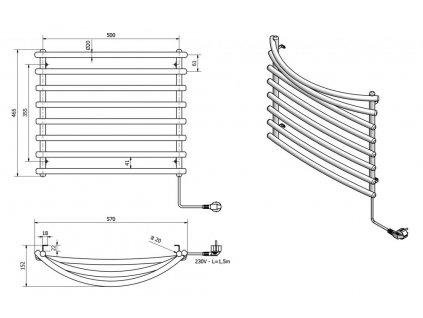 AQUALINE - Elektrický sušák ručníků, 570x465 mm, 72 W, šedý hliník - metalíza (RAL9007) SU210A