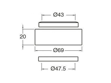 SILFRA - Podložka mezi umyvadlo a desku, výška 20 mm, chrom WP93051