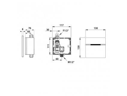 Bruckner - Senzorový splachovač pisoáru 6V DC, nerez 121.537.1
