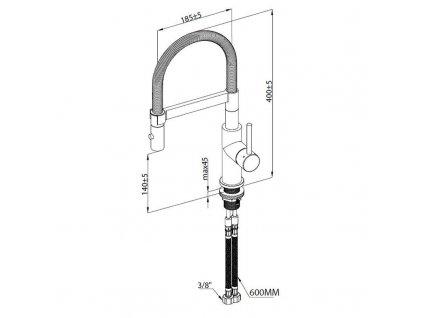 VILLEROY & BOCH - Dřezová baterie Steel Expert Compact, odnímatelná sprcha, antracit 92730005
