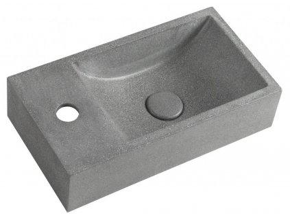 SAPHO - CREST L betonové umyvadlo včetně výpusti, 40x22 cm, černý granit AR403