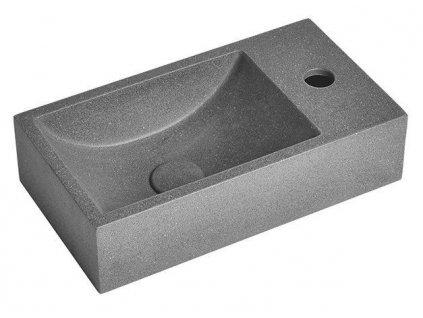 SAPHO - CREST R betonové umyvadlo včetně výpusti, 40x22 cm, černý granit AR409