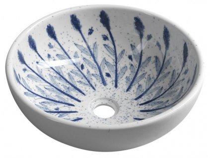SAPHO - PRIORI keramické umyvadlo, průměr 41cm, bílá s modrým vzorem PI028