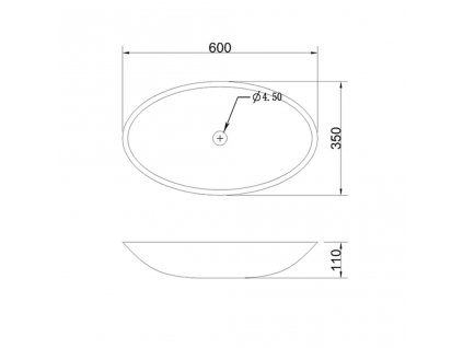 SAPHO - BLOK kamenné umyvadlo 60x11x35 cm, černý Marquin matný 2401-40
