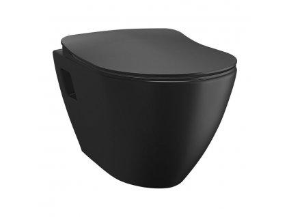 SAPHO - PAULA závěsná WC mísa, 35,5x50cm, černá mat TP325-51SM
