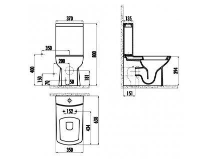 SAPHO - LARA WC kombi, spodní/zadní odpad, včetně splachovacího mechanismu, černá mat LR360