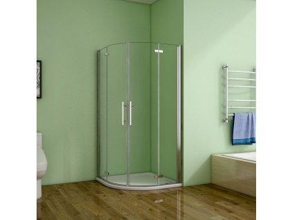 H K - Čtvrtkruhový sprchový kout MELODY S4 80 cm s dvoukřídlými dveřmi včetně sprchové vaničky z litého mramoru SE-MELODYS480/THOR-80Q
