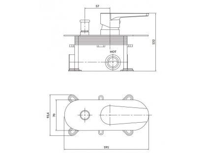 CERSANIT - Podomítková páková vanová/ sprchová baterie MODUO, vč. montážního tělesa, chrom S951-338