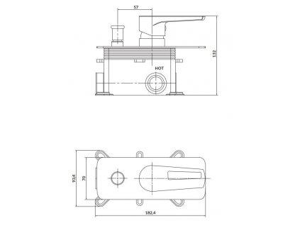 CERSANIT - Podomítková páková vanová/ sprchová baterie MILLE, vč. montážního tělesa, chrom S951-342