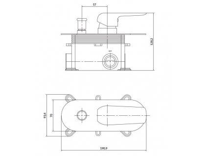 CERSANIT - Podomítková páková vanová/ sprchová baterie CITY, vč. montážního tělesa, chrom S951-345