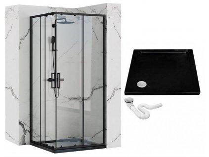 REA - Sprchový kout Punto 90x90 černý REA-K4801