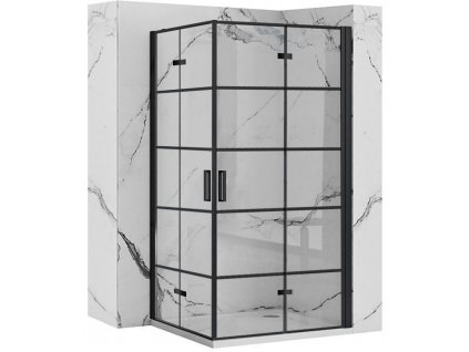 REA/S - Sprchový kout MOLIER dveře/dveře 90X90 BLACK MOLDD090090B