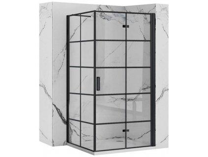 REA/S - Sprchový kout MOLIER dveře/stěna 90X90 BLACK MOLDS090090B
