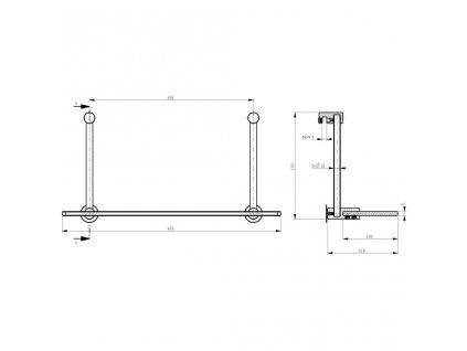 SAPHO - Závěsná skleněná polička na sprchovou zástěnu 400x180x125mm, chrom 1301-15