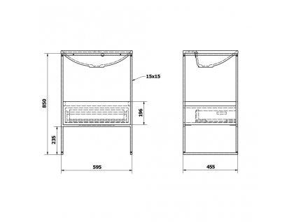 SAPHO - SKA konzole pod umyvadlo se zásuvkou 600x850x460mm, černá mat/bílá lesk SKA601