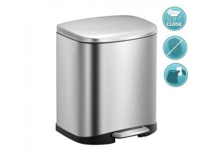 SAPHO - DELLA odpadkový koš pedálový 6l, Soft Close, nerez mat DR510