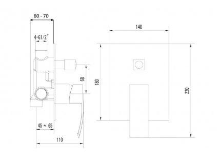GINKO podomítková sprchová baterie, 2 výstupy, černá mat 1101-42B