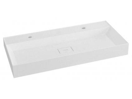 SAPHO - GODIVA umyvadlo 96x44cm, 2 otvory pro baterii, litý mramor, bílá GU096-2
