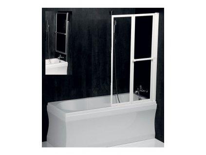 Zástěna LANKA 2 - leštěný hliník. rám š.82(41) obd.vany, PROJEKTA
