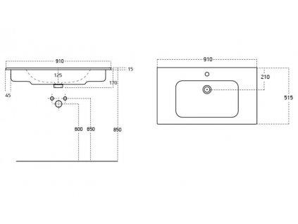 SAPHO - VIOLA 91 keramické nábytkové umyvadlo 91x51,5 cm 42091