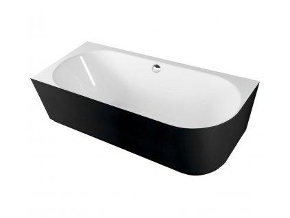 SUSSI L volně stojící vana litý mramor 160x70x49,5cm, černá/bílá (80219L)