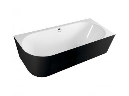 SUSSI L volně stojící vana litý mramor 160x70x49,5cm, černá/bílá (80219R)