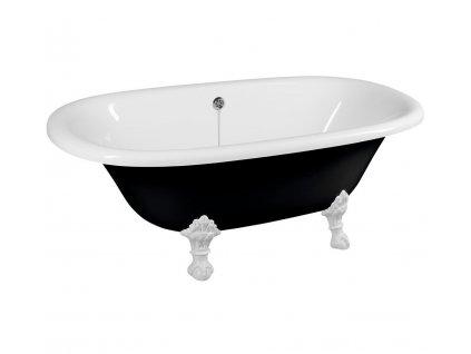 REGATA volně stojící vana 175x85x61cm, nohy bílé, černá/bílá (10261)
