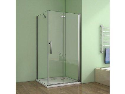 H K - Obdélníkový sprchový kout MELODY 100x90 cm se zalamovacími dveřmi včetně sprchové vaničky z litého mramoru SE-MELODYB810090/SE-ROCKY10090