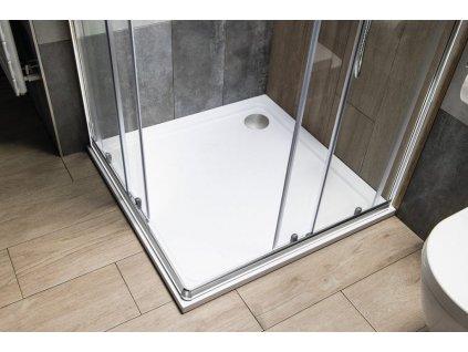 AQUALINE - TECMI sprchová vanička z litého mramoru, čtverec 80x80x3 cm PQ008