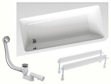 Výprodej - Ravak 10° asymetrická vana 160x95 cm, pravá, bílá vč. nohou + odpadová a přepadová souprava (C841CY81X01305)
