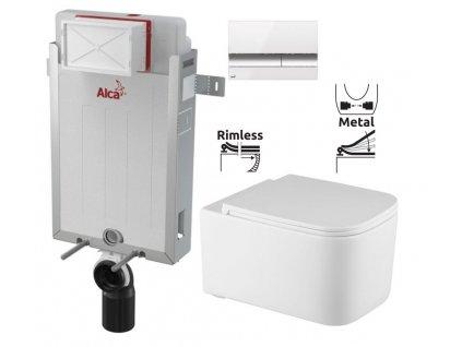 ALCAPLAST Renovmodul - předstěnový instalační systém s bílým/ chrom tlačítkem M1720-1 + WC REA Tino Rimless + SEDÁTKO AM115/1000 M1720-1 TR1
