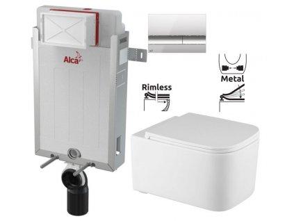 ALCAPLAST Renovmodul - předstěnový instalační systém s chromovým tlačítkem M1721 + WC REA Tino Rimless + SEDÁTKO AM115/1000 M1721 TR1
