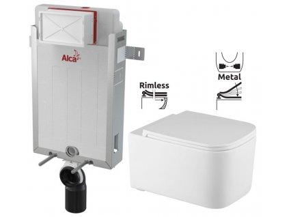 ALCAPLAST Renovmodul - předstěnový instalační systém bez tlačítka + WC REA Tino Rimless + SEDÁTKO AM115/1000 X TR1