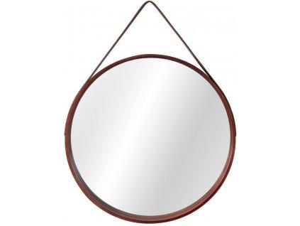 Tutumi kulaté zrcadlo v dřevěném rámu na pásku LOFT D.Brown 59 cm HOM-09696