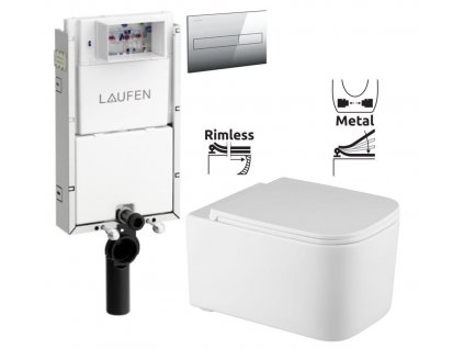 LAUFEN Podomít. systém LIS TW1 SET s chromovým tlačítkem + WC REA Tino Rimless + SEDÁTKO H8946630000001CR TR1