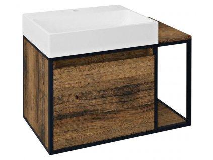 SAPHO - SKARA umyvadlová skříňka 80x49,5x46,5cm, černá mat/dub Collingwood (CG003) CG003-1919