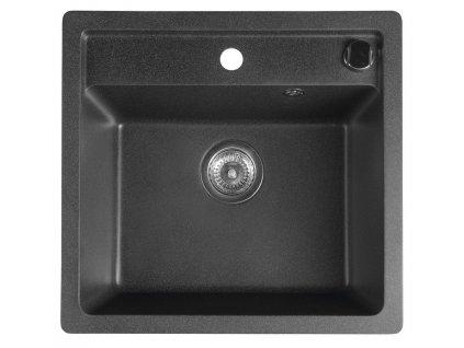 SAPHO - Dřez granitový vestavný mono, 53x50 cm, černá GR1034